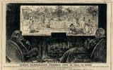 """La caricatura de George du Maurier de la"""" cámara oscura eléctrica """" de 1879 (curiosamente, Alexander Bell obtuvo una patente para la invención del Teléfono el 7 de marzo de 1876) a menudo se conoce como la Predicción temprana de la televisión y la aparición de teléfonos de video, así como pantallas de gran formato y planas. (La pantalla en la imagen tiene aproximadamente 2 metros de ancho y una relación de aspecto de 2,7: 1, la misma que la ultra Panavision).Texto en la figura: EL TELEFONOSCOPIO DE EDISON (TRANSMITE LUZ Y SONIDO). Cada noche, antes de acostarse, el padre y la madre instalan una cámara estenopeica eléctrica sobre la repisa de su habitación, deleitan sus ojos viendo a sus hijos en las Antípodas (Antipodes, probablemente significa un punto en la superficie de la tierra diametralmente opuesto al inicial) y se divierten hablando con ellos a través de la red. Cabeza de familia patriarcal (en Wilton Place):  - """"Beatrice, acércate. Quiero susurrar"""".  Beatriz (de Ceilán:  - """"Sí, querido papá"""".  - """"¿Quién es esta encantadora joven jugando al lado de Charlie?»  Beatriz:  - """"Acaba de venir de Inglaterra, papá. ¡Te presentaré a ella tan pronto como termine el juego!»"""