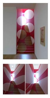 Швейцарский художник Феличе Варини создает графические иллюзии в пространстве с 1979 года. Полную картину можно увидеть только при просмотре под определенным углом, в противном случае вы будетe видеть только несколько случайных сломаных фигур.