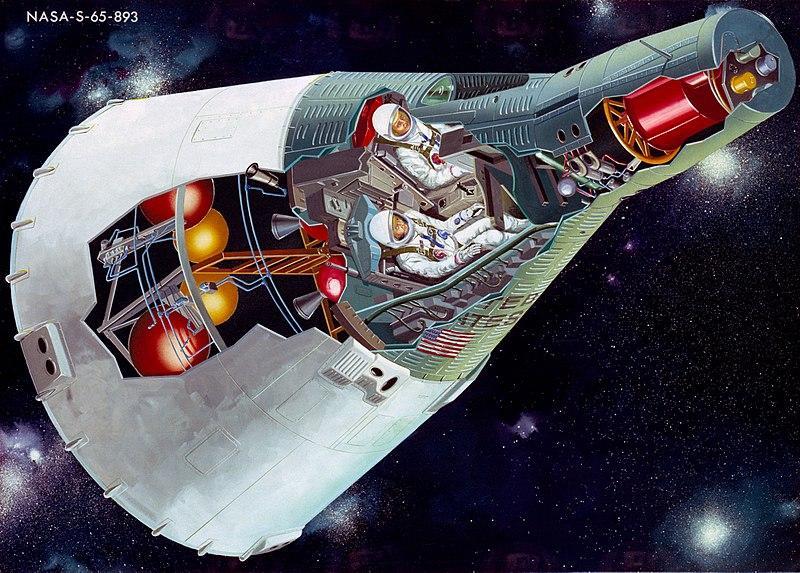 В двухместном СА «Джемини» космонавты летали до двух недель (США, 1964—66)