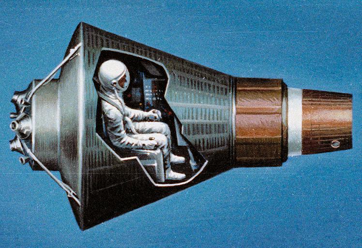 В СА «Меркурий» свободного места не больше, чем в маленьком самолёте (США, 1961—62).