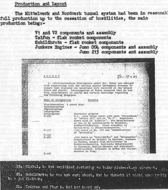 Вверху: Подкомитет по объединенным целям разведки (CIOS), пункты отчета 21, 22, 31, файл № XXX111-38 Подземные фабрики вГермании, стр. 19.  В центре: Отчет CIOS 40, Sonderausschusss A-4, стр. 5. Внизу: Отчет CIOS 59 (b) Допрос министра вооружений и войны Рейха Альберта Шпеера, стр. 3