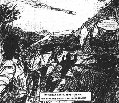 Катастрофа НЛОв Боливии.Эскиз по свидетельствам очевидцев.(Автор: Hesemann)