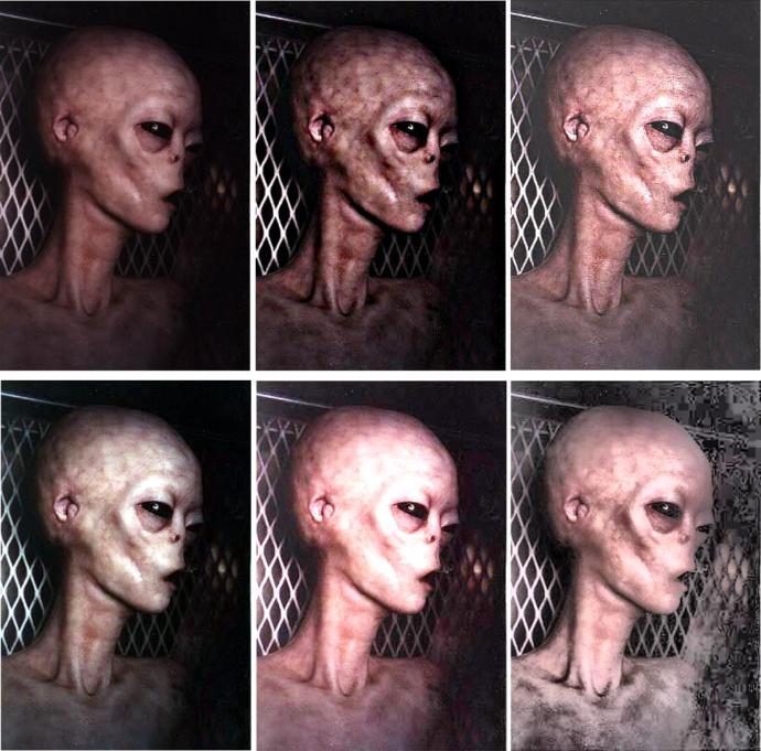 Foto del cuerpo de un extraterrestre con примением varios filtros y máscaras. Traducido del servicio de «Yandex.Traductor»