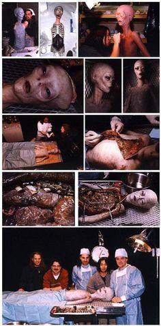 Recreación de la autopsia de un extraterrestre de ray Сантилли, que fue hecho por profesionales SFX steve johnson y Треем Стоуксом. Se ha demostrado en el programa de televisión de 20/20. (ABC, 4 de abril de 1997) Traducido del servicio de «Yandex.Traductor»
