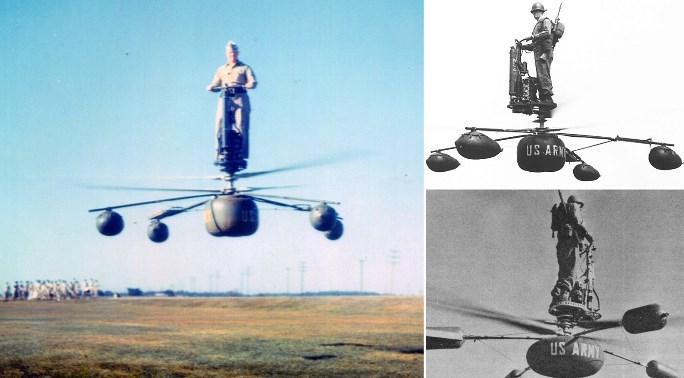 В середине 1950-х годов американские военные разработали летательное устройство, позволяющее одному солдату перемещаться по воздуху.Устройство назвали HZ-1.Предполагалось, что такой одноместный вертолет можно будет использовать для передвижения в условиях ядерной войны.  Первый запуск аэроцикла состоялся в январе 1955 года на территории Бруклинского армейского терминала. Как показала практика, чтобы научиться летать на этом аппарате, некоторым солдатам достаточно было и пяти минут. Министерство обороны признало устройство перспективным и заказало дюжину пробных аппаратов. Американская армия вот-вот должна была превратиться в непобедимую летучую кавалерию, сваливающуюся на голову врага прямо с неба.  Но дальнейшие испытания показали, что управлять аэроциклом было не так уж и просто. Во время тестов два пилота задели лопастями землю и упали. Для HZ-1 разработали специальный парашют быстрого раскрытия, но даже это не помогло — проект признали провальным и заморозили. До наших дней дошел только один экземпляр аэроцикла — он хранится в Музее транспорта армии США (Вирджиния).