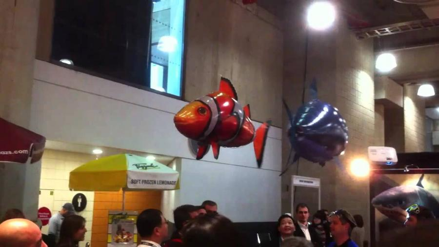 Летающие рыбыAir Swimmers на выставке.